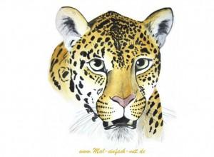 Leopard Aquarell Gemälde