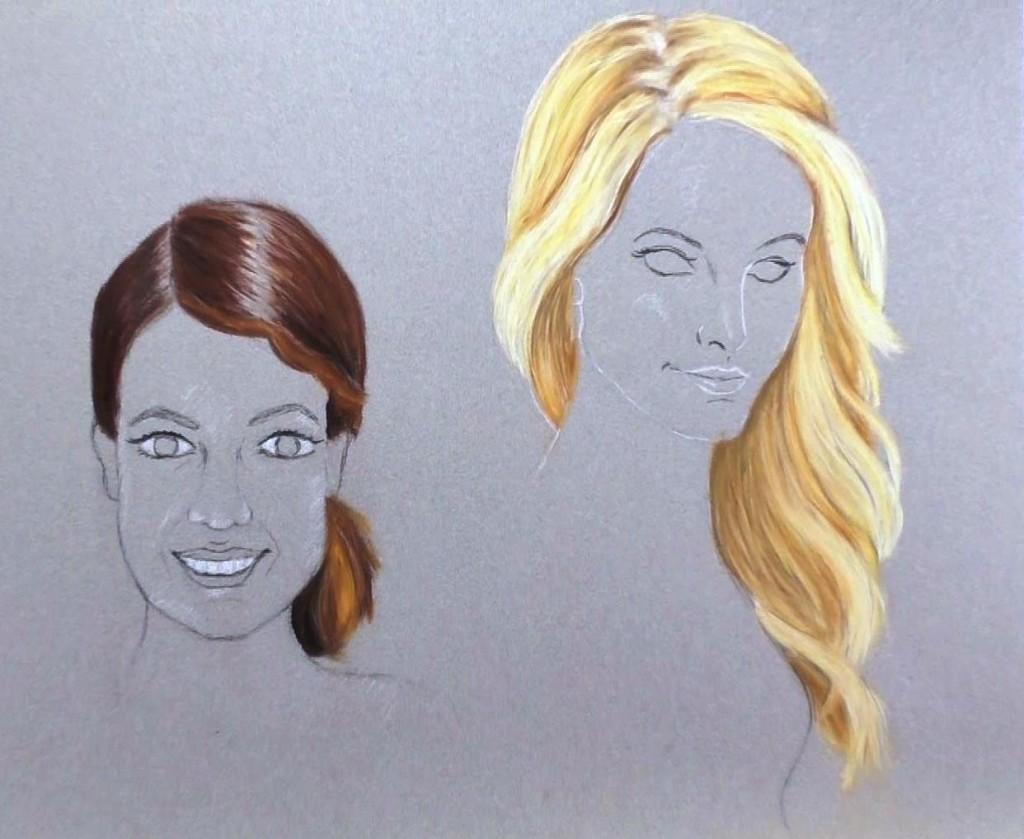 Haare zeichnen mit Pastellkreide