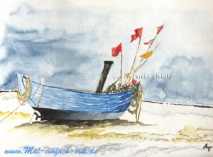 Boot am Strand Aquarell Bild