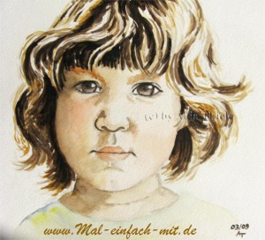 Kinderportrait Aquarell Bild